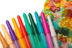 Childden color pens and drawing creativity background royalty free stock photos