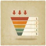 Color marketing funnel symbol old background Stock Image