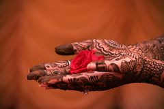 The color of Marriage- Mehndi Stock Photo