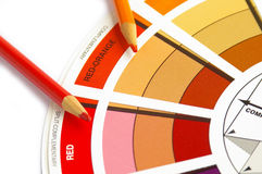 Color match. Color wheel and pencils Royalty Free Stock Photo