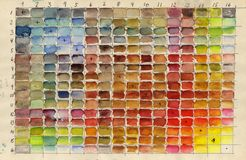 Color Matrix. Colour Grid of all classical watercolour pigments mixed together Royalty Free Stock Photos