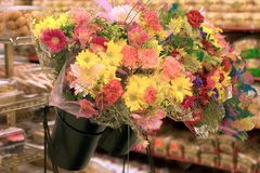 Color me spring. A supermarket flower display Royalty Free Stock Photo