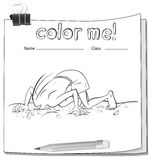 A color me worksheet with a boy and a pencil Royalty Free Stock Photo