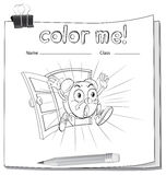 A color me worksheet with a clock Stock Image