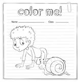 A color me worksheet with a kid and a snail Stock Photography
