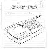 A color me worksheet with a log sleeping Royalty Free Stock Photography