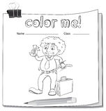 A color me worksheet with a man Royalty Free Stock Images