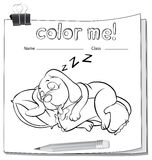 A color me worksheet with a sleeping dog Stock Image