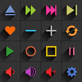 Color media control sign flat icon Royalty Free Stock Photography