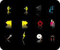 Color media icon set Stock Photography