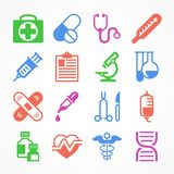 Color medical icons. On white background, medicine symbols. Vector illustration Royalty Free Stock Photography