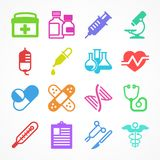 Color medical icons. On white background, medicine symbols. Vector illustration Stock Images