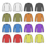 Color Men T-shirt Long Sleeved Shirts Set. Vector Stock Photography
