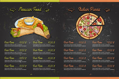 Color menu design. Drawing color menu design on blackboard, pages 4,5. Vector illustration, EPS 10 Royalty Free Stock Photo