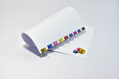 Color metal binder clips office supplies paper clips Royalty Free Stock Images