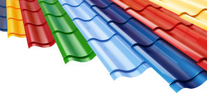 Color Metal Roof Tile  background. Color Metal Roof Tile  on a white background Stock Image