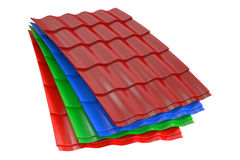 Color Metal Roof Tiles, 3D rendering Royalty Free Stock Images