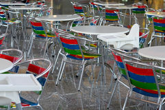 Color metal seats in cafe Stock Photos