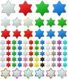 Color metallic star button set Royalty Free Stock Photo