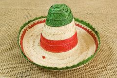 Color mexican hat. Mexican tri color sombrero hat Royalty Free Stock Image