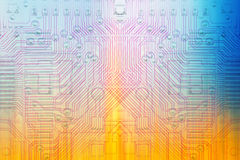 Color microelectronics background chips Royalty Free Stock Images