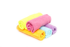 Color microfiber cloths for cleaning isolated on white backgroun Royalty Free Stock Photo