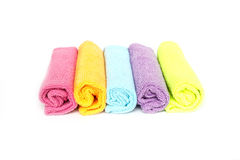 Color microfiber cloths for cleaning isolated on white backgroun Stock Photos