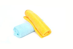 Color microfiber cloths for cleaning isolated on white backgroun Stock Image