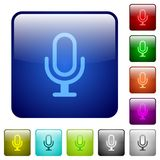 Color microphone glass buttons. Set of color microphone glass web buttons Stock Images