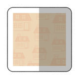 Color middle shadow sticker with square with pattern of house Royalty Free Stock Image