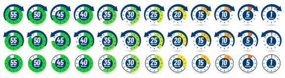 Free Color Minutes Icon. Timer, 1 Minute Ago And 5-55 Minutes Label Dial With Arrow. Set Time Vector Icons Set Stock Image - 189428071