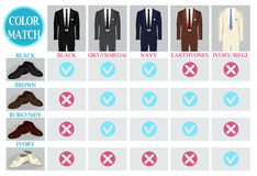 Color mix match guide for shoes and suit Royalty Free Stock Image