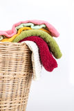 Color mix towel in wicker baskets on white background. Close up color mix the towel in wicker baskets on white background royalty free stock photo