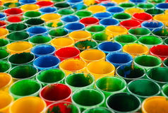 Color mixing glasses Stock Photo