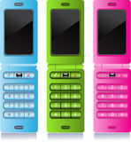 Color mobile phones - pink, blue and green stock photography