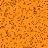 Color mochrome funny cartoon garden seamless pattern, orange royalty free illustration
