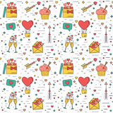 Color modern seamless pattern for Valentines Day and wedding. The traditional attributes. Illustration Stock Illustration
