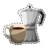 Color moka pot with coffee cup Stock Photo