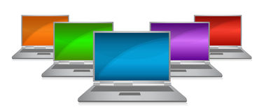 Color monitors in a row Stock Photos