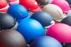 Color motorcycle helmets background Stock Photography