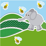 Color mountains with bees and elephant icon Royalty Free Stock Photo