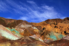 Color mountains of Death valley. The variegated slopes of Artists Palette in Death Valley, California. Various mineral pigments have colored the volcanic Royalty Free Stock Photos