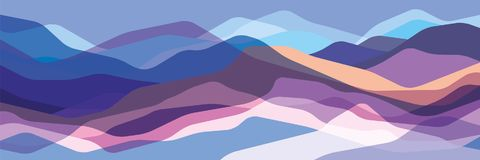 Color mountains, translucent waves, abstract glass shapes, modern background, vector design Illustration for you project vector illustration