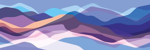 Color mountains, translucent waves, abstract glass shapes, modern background, vector design Illustration for you project stock illustration