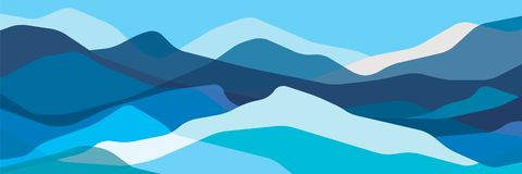 Color mountains, translucent waves, abstract glass shapes, modern background, vector design Illustration for you project royalty free illustration