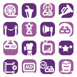 Color movie icon set. Color Movie Icons Set Created For Mobile, Web And Applications Stock Photography