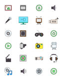 Color multimedia icons set. Set of 24 color music icons Royalty Free Stock Photo