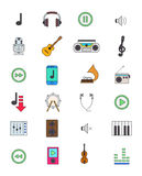 Color music icons set Stock Images