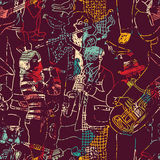 Color music jazz band seamless pattern. Stock Images