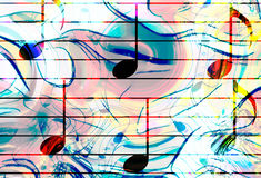 Color music notes and color background. Music concept. Royalty Free Stock Image